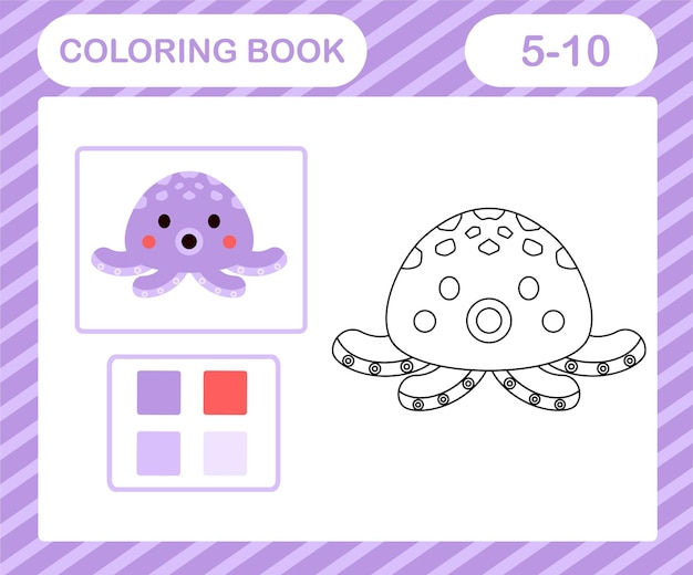 Coloriage poulpe de dessin animé, jeu éducatif pour les enfants de 5 et 10 ans