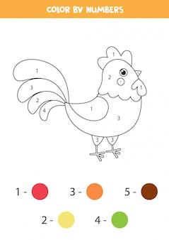 Coloriage pour les enfants. coq de ferme de dessin animé mignon.