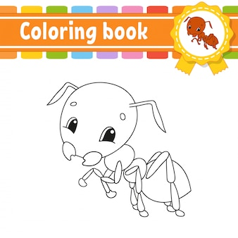 Coloriage pour les enfants, fourmi gaie