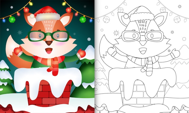Coloriage pour les enfants avec un renard mignon utilisant un bonnet de noel et une écharpe dans la cheminée