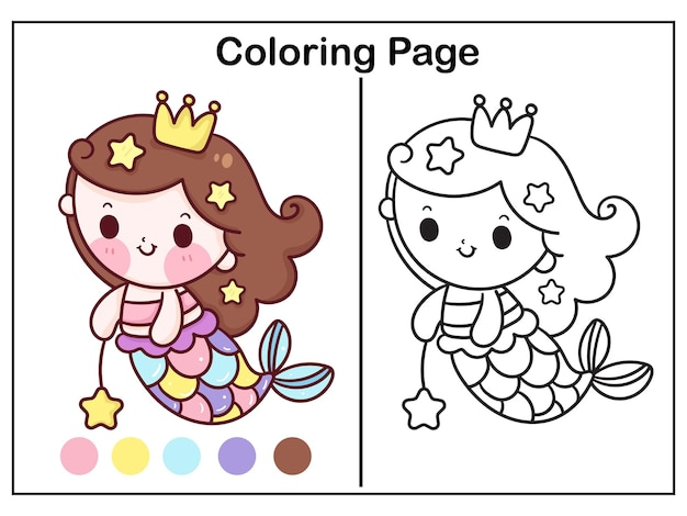 Coloriage princesse sirène dessin animé avec bébé étoile de mer kawaii illustration