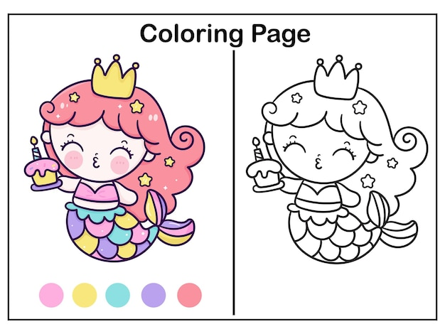 Coloriage princesse sirène dessin animé tenant gâteau anniversaire animal kawaii