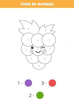 Coloriage de raisin kawaii mignon par numéros. jeu de mathématiques éducatif pour les enfants.