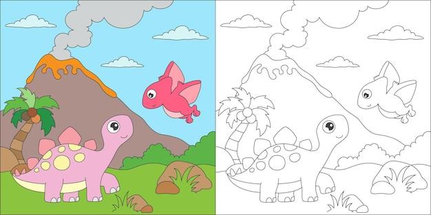 Coloriage stégosaures et illustration d'un ami