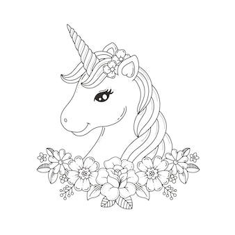 Coloriage tête de licorne avec guirlande de fleurs