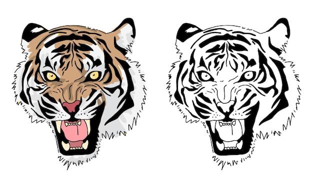 Coloriage de tigre dessiné à la main pour enfant