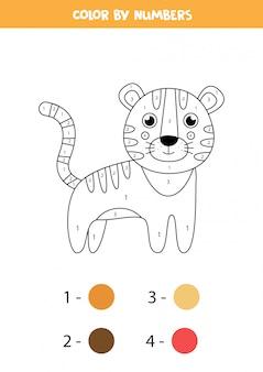 Coloriage avec tigre mignon de bande dessinée. feuille de travail pour les enfants.
