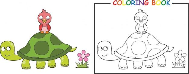 Coloriage tortue et oiseau