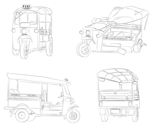 Coloriage De Tricycles Thaïlandais Pour Les Enfants Vecteur Premium