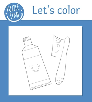 Coloriage de vecteur avec une brosse à dents kawaii mignonne et du dentifrice. personnages drôles de soins des dents. clipart contour sur le thème dentaire pour les enfants. illustration d'hygiène buccale isolée sur fond blanc.