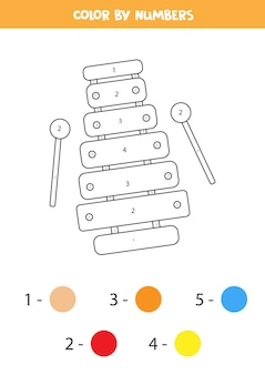 Coloriage avec xylophone jouet. couleur par numéros. feuille de travail éducative pour les enfants.