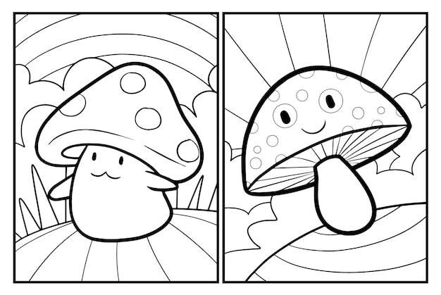 Coloriages de champignons mignons et kawaii