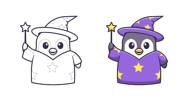 Coloriages de dessin animé mignon pingouin sorcière pour les enfants