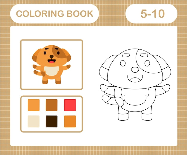 Coloriages de jeu d'éducation de chien mignon pour les enfants de 5 et 10 ans