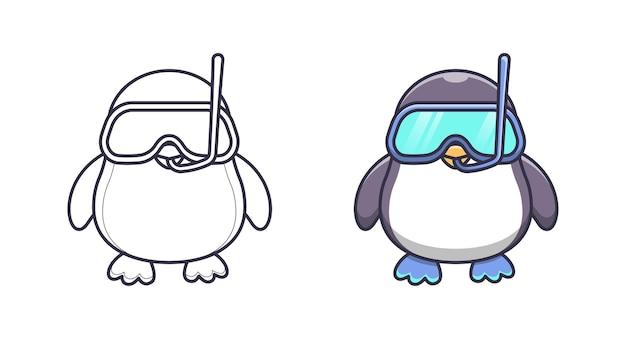 Coloriages mignons de dessin animé de plongeur de pingouin pour des enfants