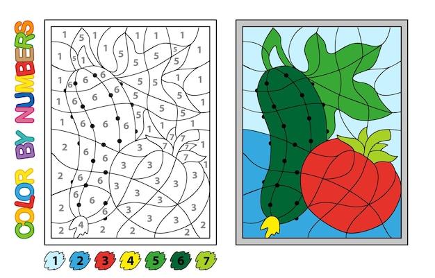 Coloriez par des nombres. jeu de puzzle pour l'éducation des enfants. chiffres et couleurs pour dessiner et apprendre les mathématiques. légumes de vecteur