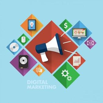 Coloured icônes de marketing numérique