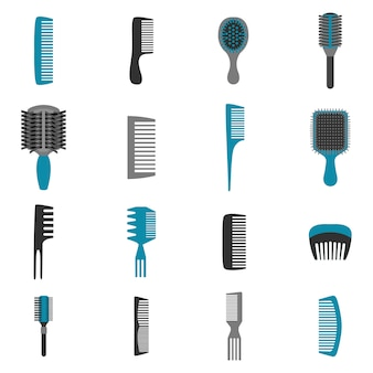 Comb icons flat set