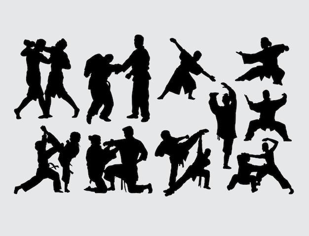 Combat et entraînement silhouette sport art martial