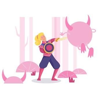 Combat de héros de femme avec monstre