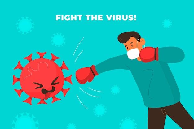 Combat illustré avec le virus