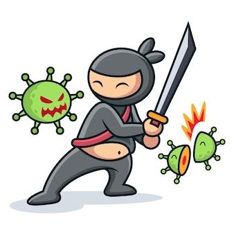 Combat de ninja mignon avec dessin animé de virus. ninja