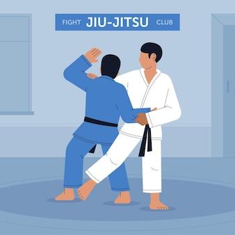 Combats d'athlètes du club de jiu-jitsu