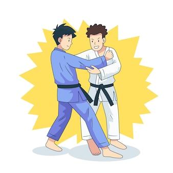 Combats d'athlètes de jiu-jitsu