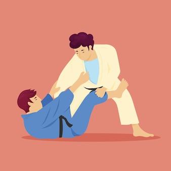 Combats d'athlètes de karaté jiu-jitsu