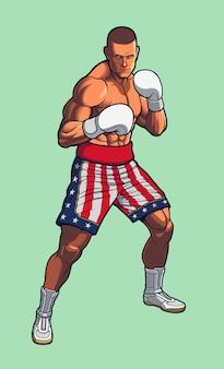 Combattant de boxe portant des shorts de boxe du drapeau américain.