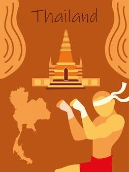 Combattant et carte de muay thai