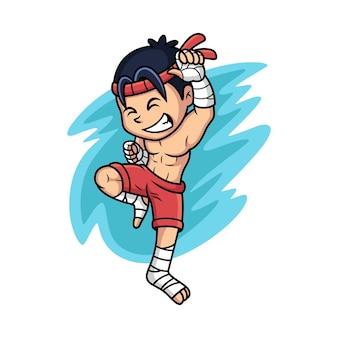 Combattant de muay thaï. illustration de vecteur de dessin animé isolée sur vecteur premium