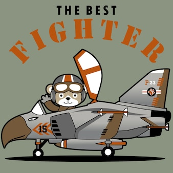 Combattant à réaction avec pilote mignon, dessin animé