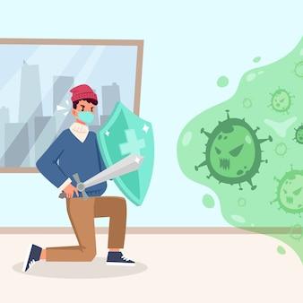 Combattez le concept du virus avec le bouclier
