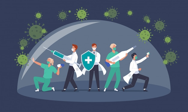 Combattez avec le concept du virus corona covid-19. équipe de médecins ou professionnels de la santé médicale luttant contre la pandémie de coronavirus. illustration dans un style plat