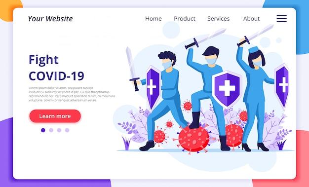 Combattez le concept du virus, le médecin et les infirmières utilisent l'épée et le bouclier pour combattre le coronavirus covid-19. modèle de conception de page de destination de site web