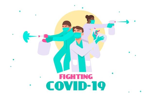 Combattez le concept du virus avec des médecins
