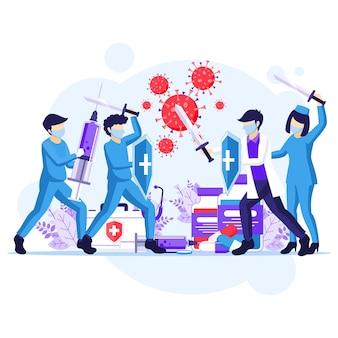 Combattez le concept de virus, le médecin et les infirmières utilisent l'épée et le bouclier pour combattre l'illustration du coronavirus covid-19