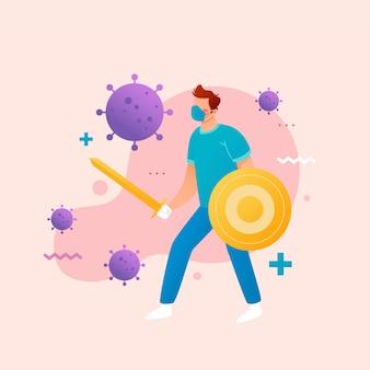 Combattez le docteur du virus avec l'épée