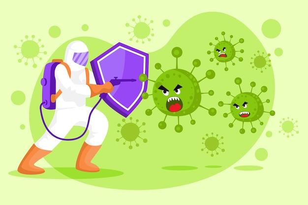 Combattez le virus homme professionnel en costume de matières dangereuses