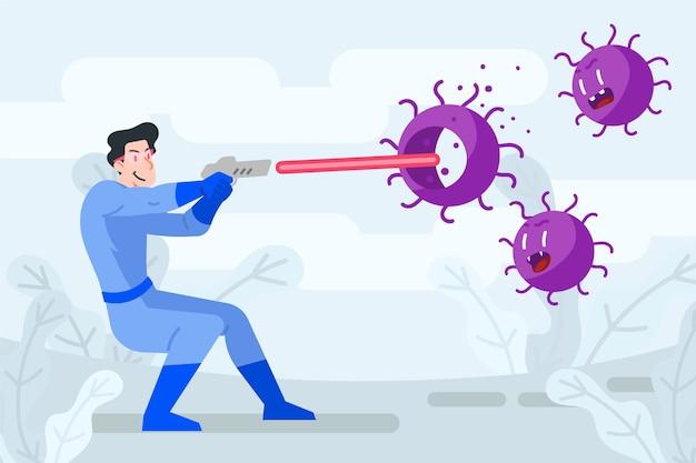 Combattre le concept d'illustration de virus