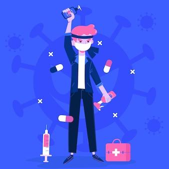 Combattre le concept illustré du virus