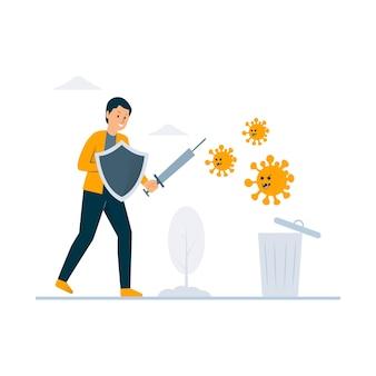 Combattre l'illustration du concept de virus
