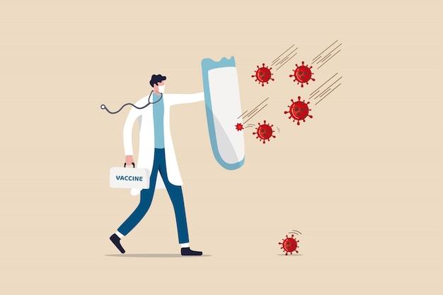 Combattre et protéger le concept d'épidémie de coronavirus covid-19, médecin portant un masque sanitaire avec un stéthoscope tenant un bouclier protecteur et une boîte de vaccins pour se protéger des agents pathogènes du coronavirus covid-19.