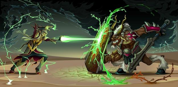 Combattre scène entre elfe et bête fantastique illustration vectorielle