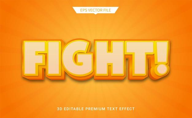 Combattre le vecteur premium d'effet de style de texte modifiable en 3d