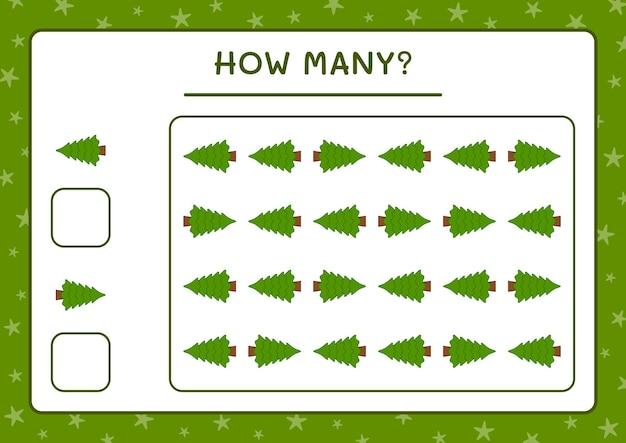 Combien d'arbre de noël, jeu pour les enfants. illustration vectorielle, feuille de calcul imprimable