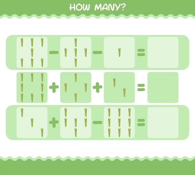 Combien d'asperges de bande dessinée. jeu de comptage. jeu éducatif pour les enfants et les tout-petits de la maternelle