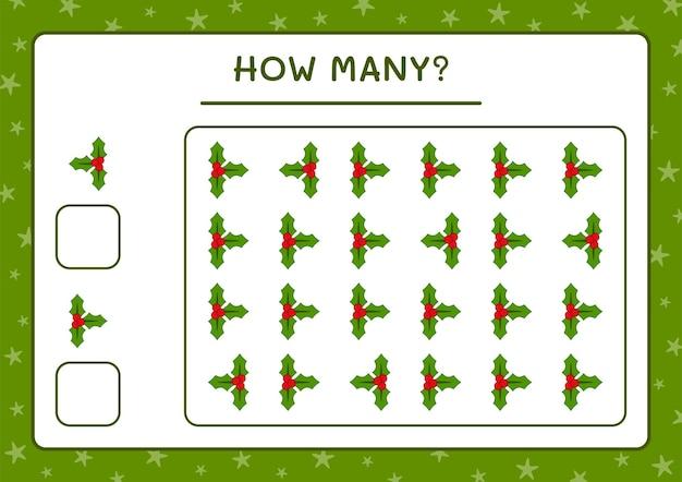 Combien de baies de houx, jeu pour les enfants. illustration vectorielle, feuille de calcul imprimable