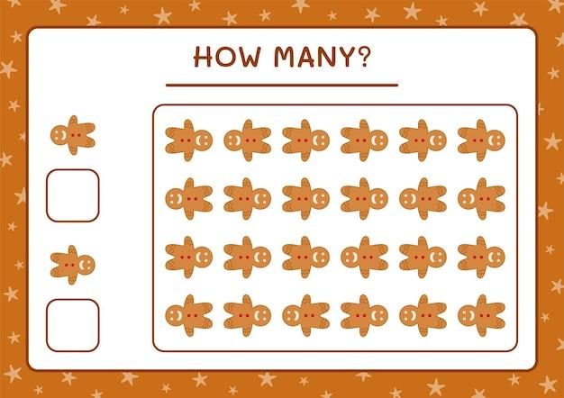 Combien de biscuits au pain d'épice, jeu pour les enfants. illustration vectorielle, feuille de calcul imprimable